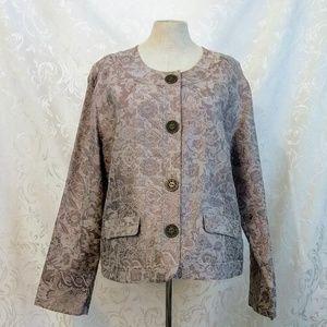 Chico's Formal Gray Button Down Brocade Jacket